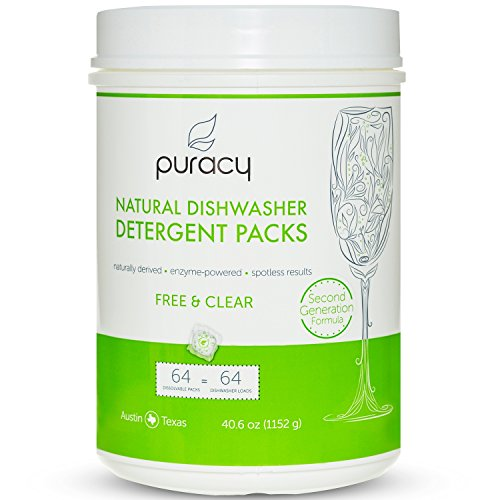 Automatic Detergent (Puracy Natural Dishwasher Detergent Packs, 64ct, Enzyme-Powered Automatic Dish Tabs, Free & Clear, 64-Tablets)