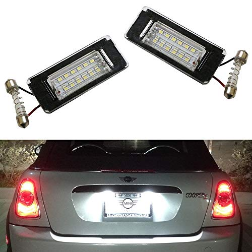 - iJDMTOY OEM-Fit 3W Full LED License Plate Light Kit For 2006-14 MINI Cooper Gen2 R56 R57 R58 R59 Powered by 18-SMD Xenon White LED & Can-bus Error Free