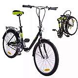 KROCK Bicicleta Plegable AH2 Ligera R22 Retro 7 Velocidades Shimano
