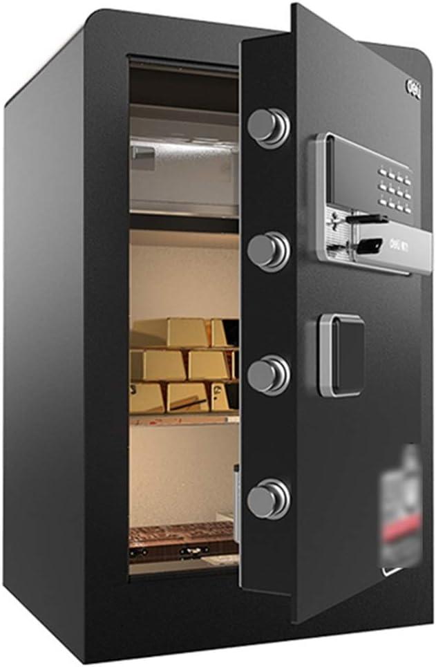 Cajas de caudales Caja Fuerte Electrónica For El Hogar Caja Fuerte For Huellas Dactilares De Oficina Caja Fuerte Antirrobo Caja Fuerte Montada En La Pared (Color : Black, Size : 60 *