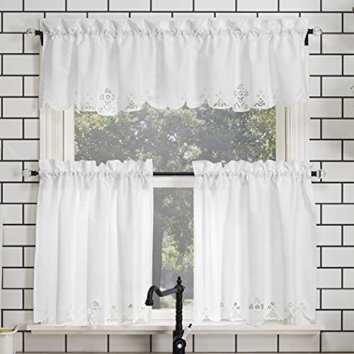 No. 918 Mariela Floral Trim Semi-Sheer Rod Pocket Kitchen Curtain Valance and Tiers Set, 58 x 24 3-Piece, White