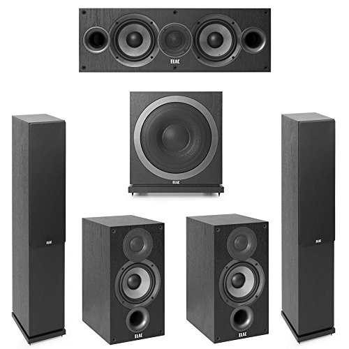 Elac Debut 2.0-5.1 System with 2 F5.2 Floorstanding Speakers, 1 C5.2 Center Speaker, 2 B5.2 Bookshelf Speakers, 1 Elac SUB3010 Subwoofer