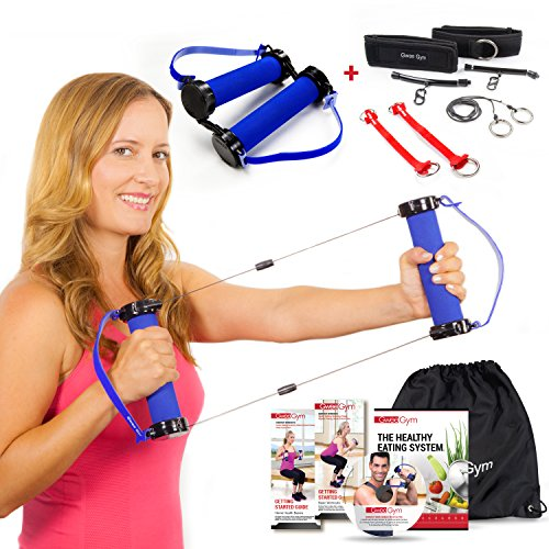 Best Resistance Bands Exercise Kit - Gwee Gym Lite and Accessory Kit - All in One Portable Gym Equipment with Workout DVD, Travel Bag and Healthy Eating e-Book