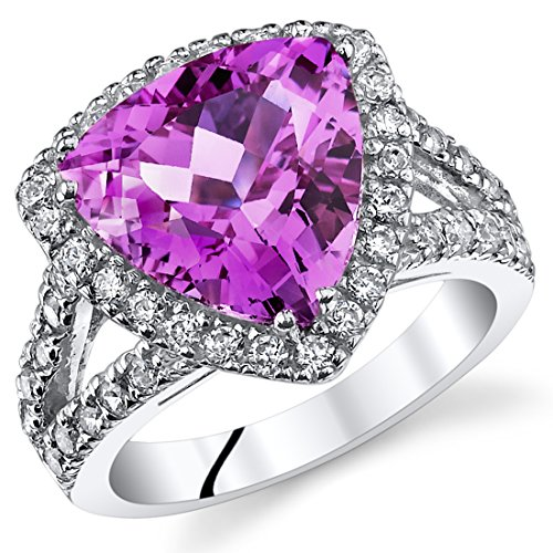 5.75 Carats Trillion Cut Created Pink Sapphire Cocktail Ring Sterling Silver Size 8 (Trillion Lab Cut)