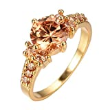 Bamos Jewelry Gold Plated Women Ring Diamond Cut Style Big Promise CZ With Small Diamond Gold Ring Size 10