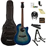 Ovation CS28P-RG-Kit-1 Celebrity Plus Super Shallow Acoustic-Electric Guitar Kit with Accessories, Regal to Natural
