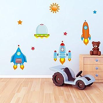 Wandtattoo Wandsticker Sticker Raketen Sterne Sonne Jungen Kinderzimmer  Rakete