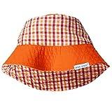 Wee Ones Brim Sun Hat, Reversible Plaid Sun Hat, Bucket Hat Orange, 12-18 Mths