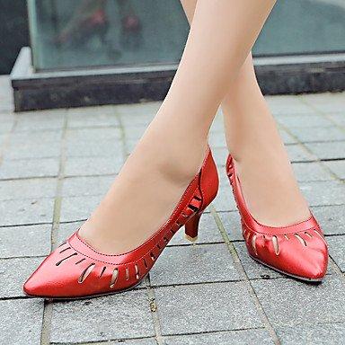 Talones de las mujeres Primavera Verano Otoño Club de los zapatos de cuero de boda oficina y carrera al aire libre Fiesta y Noche Tacón de aguja Vestido informal HeelBlack Red