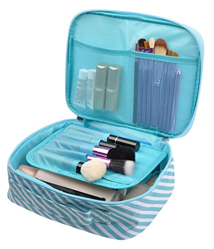 Striped Airplane (Travel Makeup Cosmetic Case,Portable Brushes Case Toiletry Bag Travel Kit Organizer Cosmetic Bag (A-blue striped))