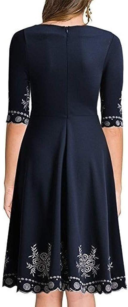 Womens Elegant Printed Dress NDGDA Half Sleeve O-Neck Casual Slim Mini Dress