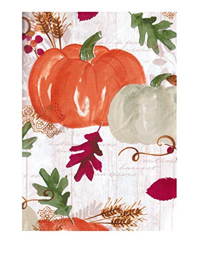 Oval Pumpkin - Bountiful Harvest Fall Vinyl Tablecloth, Hempstead Farm Falling Leaf Pumpkin Design, Flannel Backed (52 x 70 Oval)