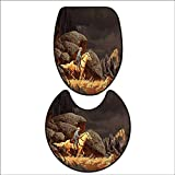 qianhehome Bathroom Non-Slip Rug Set A Rock Mountain Scene Landscape with a Cowboy Riding Horse North America Style Folk Print Gold Grey. in Bath Mat Bathroom Rugs 15''x18''-D28