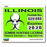 Illinois IL Zombie Hunting License Permit Green - Biohazard Response Team - Window Bumper Locker Sticker
