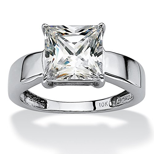 Princess-Cut White Cubic Zirconia 10k White Gold Solitaire Engagement Ring Size 7