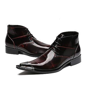 Hombres Zapatos De Cuero Botines Vaquero Botas con Cordones Clásico Rojo Vespertino Fiesta Vestido: Amazon.es: Deportes y aire libre