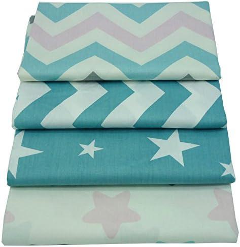 4 piezas 40cm * 50cm Estrellas impreso tela de algodón para ...