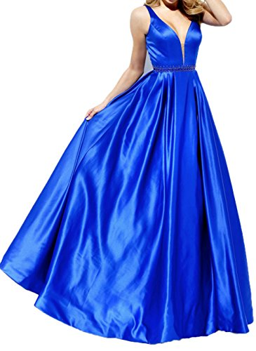 Royal Charmant Brautjungfernkleider Festlichkleider Satin Langes Blau Damen Promkleider Abendkleider Partykleider 4r48qa