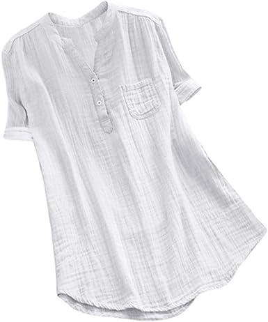 Blusas y Blusas Suaves para Mujer, Talla Grande, Cuello Alto, Blusa de Manga Corta, Camisa Suelta con Bolsillo - Blanco - XX-Large: Amazon.es: Ropa y accesorios