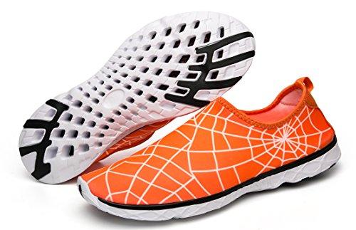 Mohem Water Schoenen Lichtgewicht Barefoot Sneldrogend Instapmodel Aqua Voor Dames En Heren Wandelschoenen Oranje
