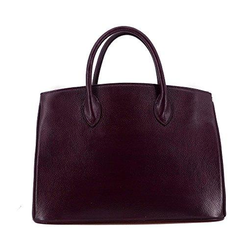 Rouven Studio Art/Icone 35 Tote Bag/Tiefes Spiced Apple Bordeaux Tawny Port Rot/Gold/Damen Leder Business Handtasche Tasche/edel modern chic puristisch/35x26x18cm SXK9T