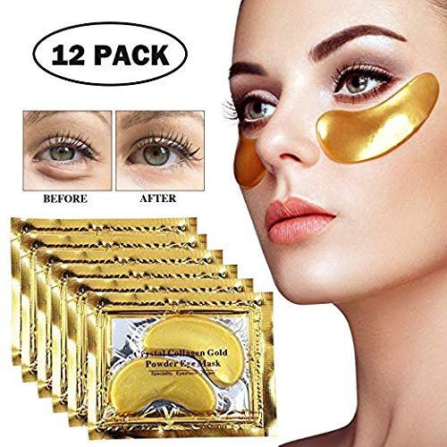 (Crystal Collagen Gold Powder Eye Treatment Mask Patches (12 Pairs) for Women and Men to Anti Aging, Dark Circles Under Eye Bags,Wrinkles and)