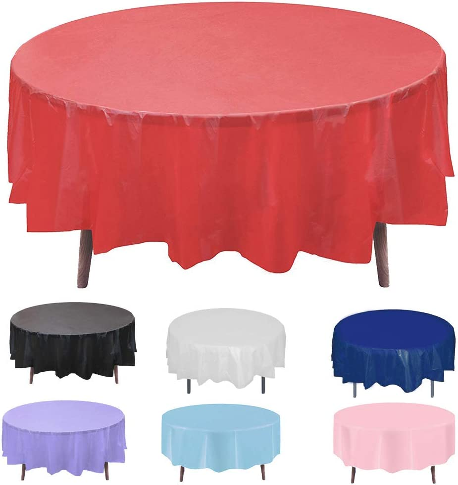 Round Plastic Disposable Tablecloth Table Cloth Cover Protector for Wedding Birthday Party Easter Holiday Banquet Event Supplies Picnic Cover Spillproof Waterproof 84 Inch 24 Pack Red Color 72 60 Inch