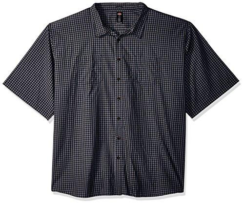 Dickies Men's Yarn Dyed Plaid Short Sleeve Shirt Big-Tall, Black/Blue/Grey Check, 3T
