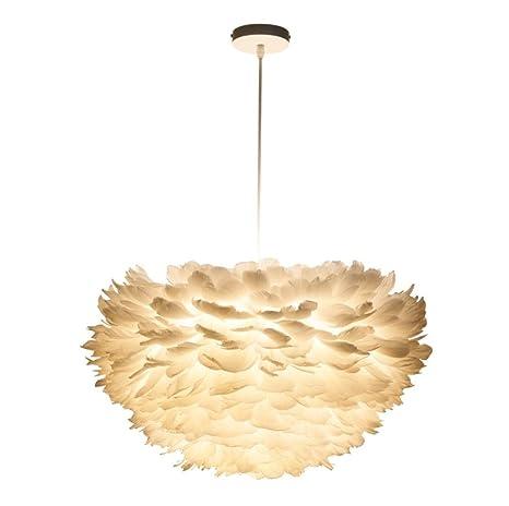 YUSHI Lámpara de Techo de Plumas Blancas de Techo de plafón ...