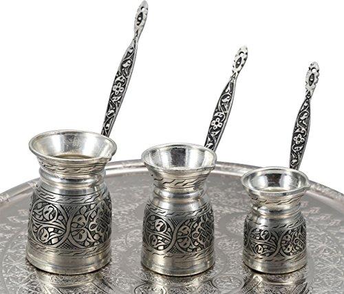 Heavy Duty Hand Made Engraved Copper Turkish Greek Arabic Armenian Coffee Pot SET - Stovetop Coffee Maker Cezve Ibrik Briki with Brass Handle - Small-5.1Oz/Medium-8.4Oz/Large-11.8Oz - (CPS-107) by Handcraftideas (Image #5)