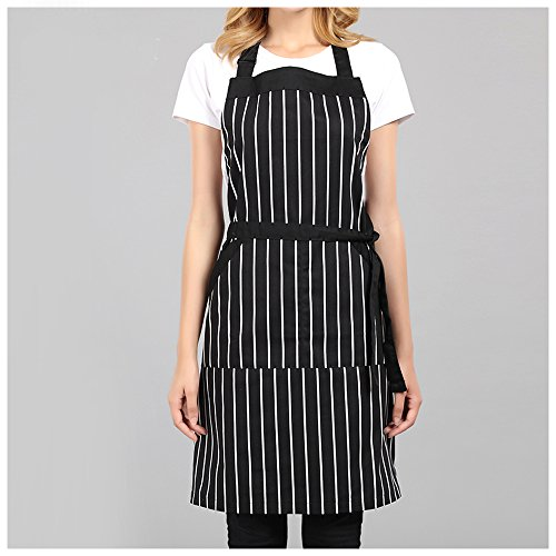 Professional Stripe Bib Apron With Adjustable Neck Strap & Waist Ties, Unisex Restaurant Chef Kitchen Apron, Perfect for Cooking, Baking, Barbequing, & More, Black