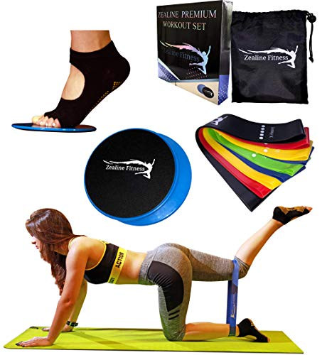 Gliding Discs Resistance Bands with Bonus Yoga Socks Our Ultimate Bundle Bands Loops set of 5 , Core Sliders set of 2 and Toeless Grip Socks Will Strengthen Your Abs, Legs and Glutes.