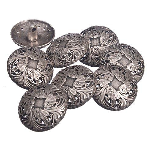 - Zinc Diecasted Metal Shank Button - Renaissance Floral Pattern - 36 Line - Antique Silver