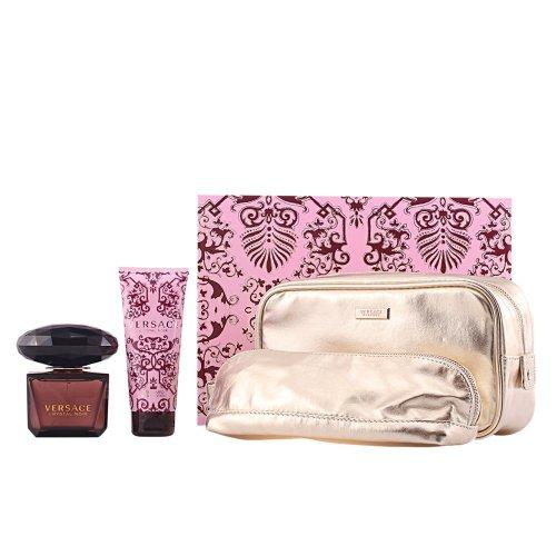 VERSACE CRYSTAL NOIR Women Gift Set Eau de Toilette 3oz Spray + 3.4oz Lotion + COSMETIC POUC