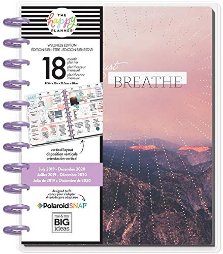 Create 365 ; Big Happy Planner ; Wellness ;'' Just Breathe'' Dated 18 Months (July 2019-December 2020) ; Vertical Layout ; Weekly & Monthly Page layouts ; Size: 11.5'' x 10.25 by Create 365 (Image #2)