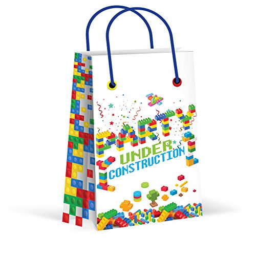Premium Bricks Building Blocks Treat Bags, Party Bags, New, Gift Bags,Goody Bags, Building Blocks Party Supplies, Decorations,12 Pack]()