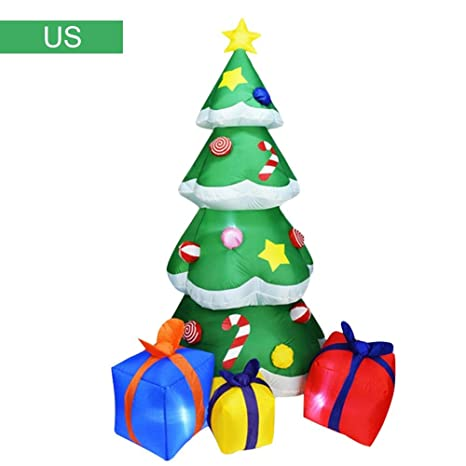 Fully Decorated Christmas Tree Decoration Kit.Popchilli Inflatable Christmas Tree With Gift Boxes Blow Up