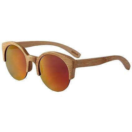 Gafas sol Redondas del Medio Capítulo de Bambú Lleno de La ...