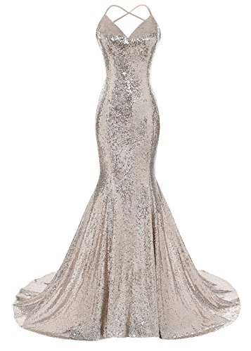 2a6d3379b39c DYS Women's Sequins Mermaid Prom Dress Spaghetti Straps V Neck Backless  Gowns Champagne US 0. Home/Prom Dresses/DYS Women's Sequins Mermaid Prom  Dress ...