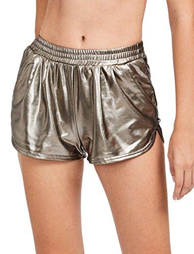 Gold Suit Halloween (SweatyRocks Women's Yoga Hot Shorts Shiny Metallic Pants Gold)