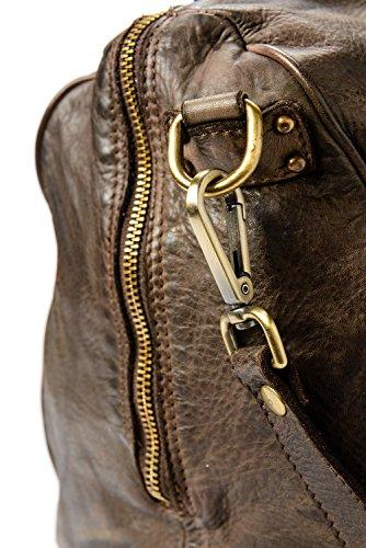 Ira del Valle, Damenhandtasche in Vintage-Leder, Made in Italy, Modell Tasche Panama, große Tasche und Schultergurt mit Schultergurt für Mädchen Braun