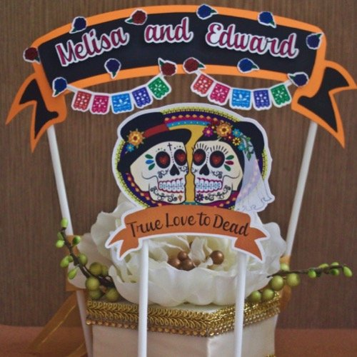 1 Cake Topper Banner Halloween Dia de Muertos, Wedding True Love Cake Decorations -