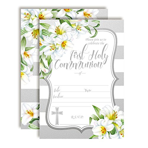 Watercolor Floral Lilies First Holy Communion Religious Party Invitations, 20 5
