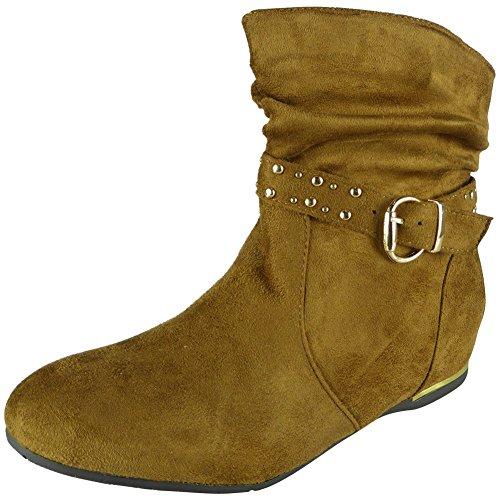 Neue Frauen Schnalle Niedrig Hacke Keil Knöchel Stiefel Größe 36-41 Kamel
