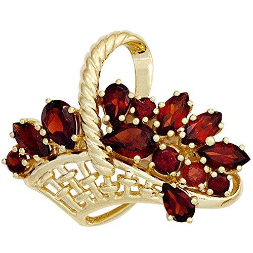 Broche pin'panier de fleurs avec grenat rouge pour femme en or 333 en pierre précieuse