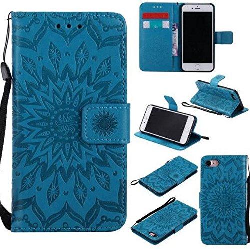 Galaxy S7 Sunflower PU Leather Wallet Case,Auroralove Blue Luxury Slim Full Body Shockproof Credit Card Kickstand Case for Samsung Galaxy S7