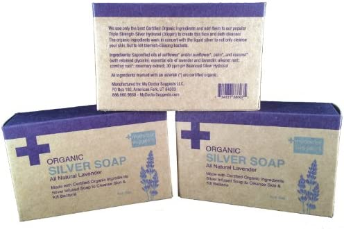 Organic Silver Soap – All Natural Lavender Made with Certified Organic Ingredients. Silver Infused Soap to Cleanse Skin Kill Bacteria. 4oz Bar 3 Bars