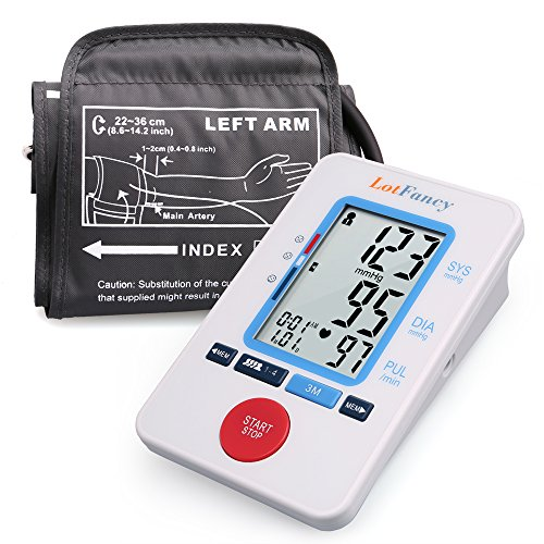 LotFancy Automatic Blood Pressure Machine – Digital BP Monitor with Upper Arm Cuff, Irregular Heartbeat Detector,Accurate Portable Device for Home Use, 4 User Mode, FDA Approved (M Cuff 8.5-14 Inches)