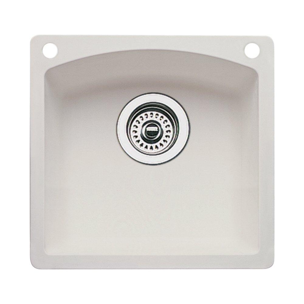 Blanco 440206-2 Diamond 2-Hole Single-Basin Drop-In or Undermount Granite Bar Sink, Biscuit