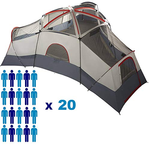 Huge Family XL Camping Tent 20-Person 4 Rooms with Separate Doors. Waterproof Roomy Fits Up to 6 Queen Size Instant Cabin 25'x21.5′. Spacious for Hiking Fishing Hunting Beach Outdoor Festival Picnic